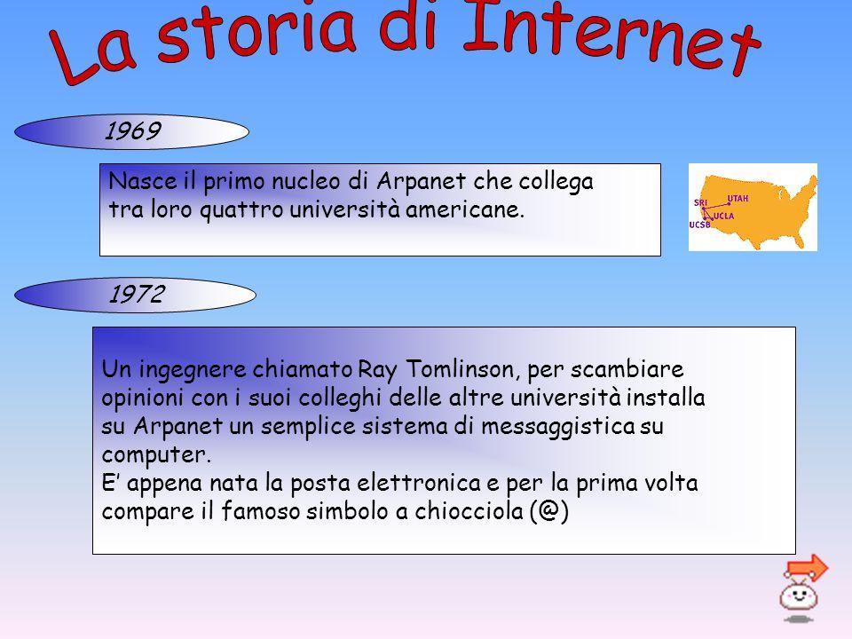 La storia di Internet 1969. Nasce il primo nucleo di Arpanet che collega. tra loro quattro università americane.
