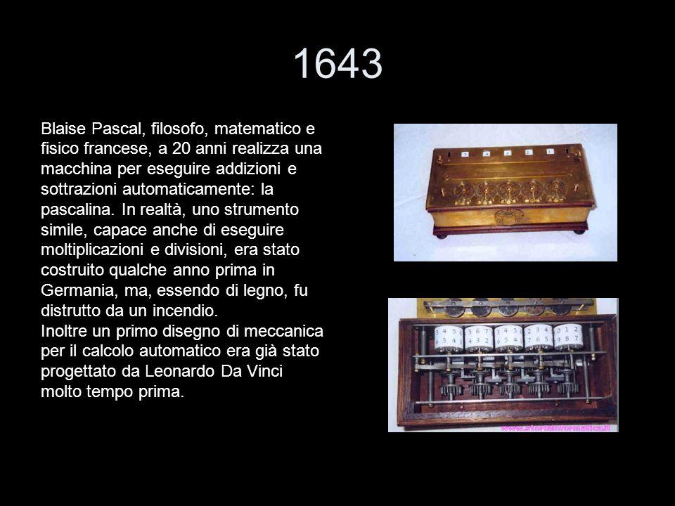 1643 Blaise Pascal, filosofo, matematico e