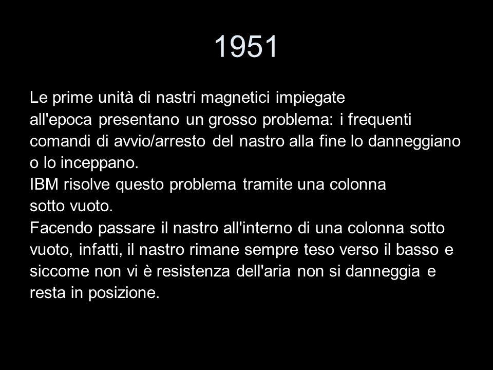 1951 Le prime unità di nastri magnetici impiegate