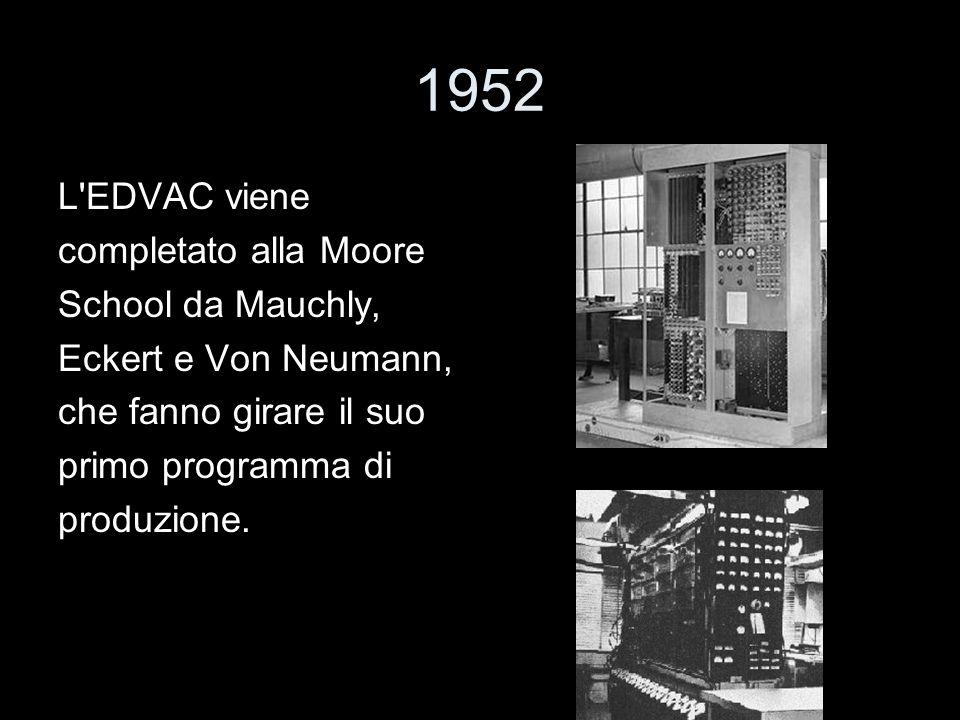 1952 L EDVAC viene completato alla Moore School da Mauchly,