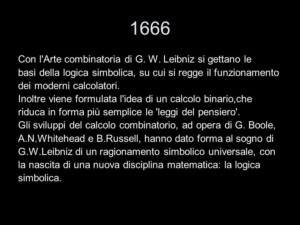1666 Con l Arte combinatoria di G. W. Leibniz si gettano le