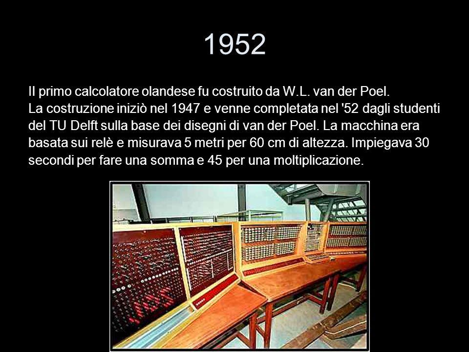 1952 Il primo calcolatore olandese fu costruito da W.L. van der Poel.