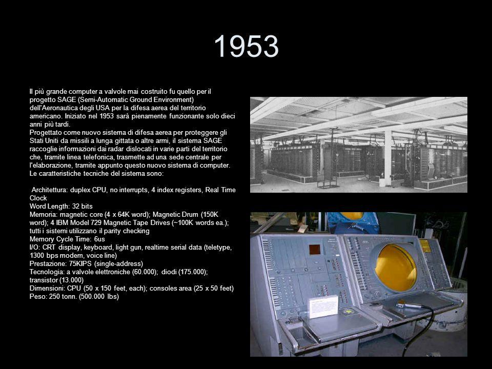 1953 Il più grande computer a valvole mai costruito fu quello per il