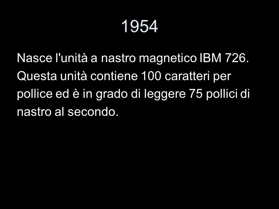 1954 Nasce l unità a nastro magnetico IBM 726.