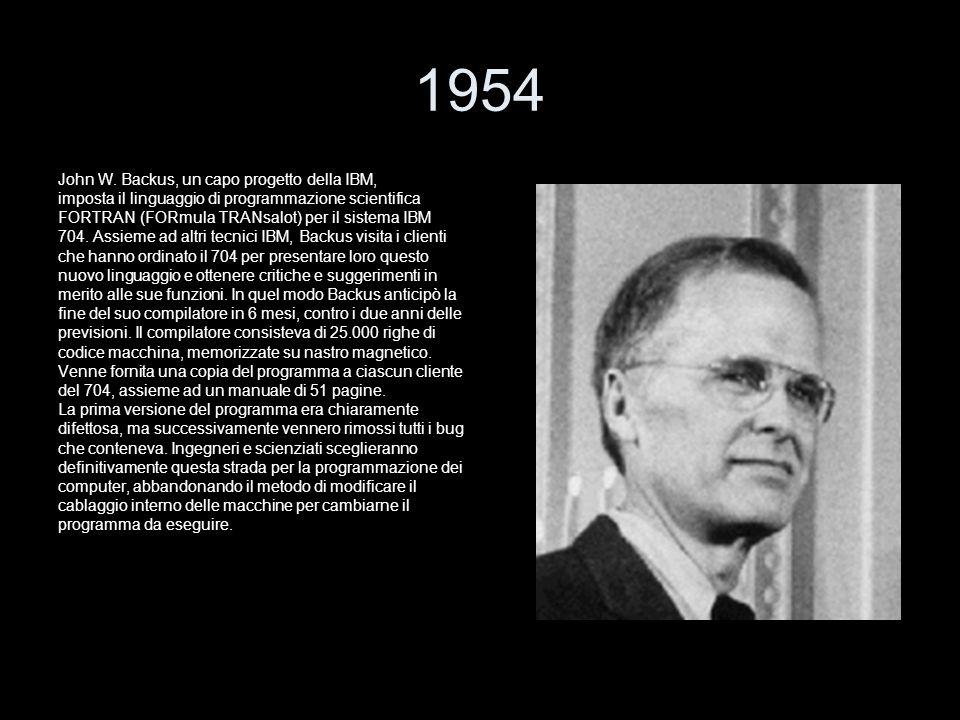 1954 John W. Backus, un capo progetto della IBM,