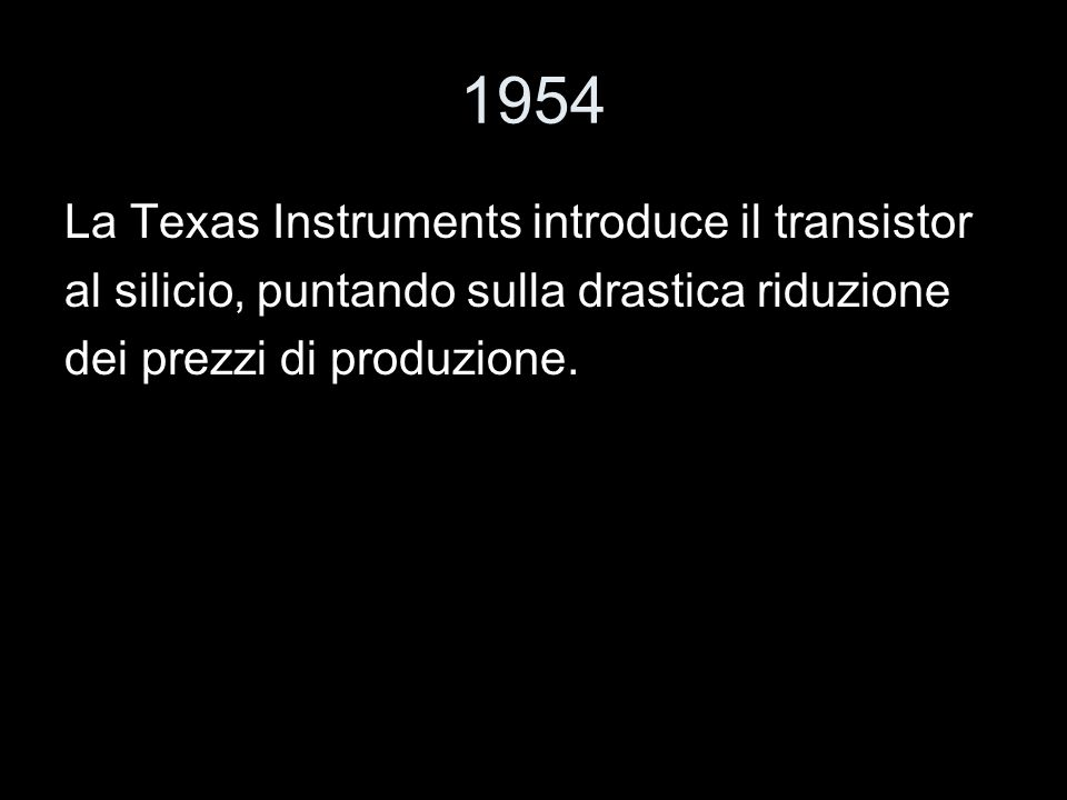 1954 La Texas Instruments introduce il transistor