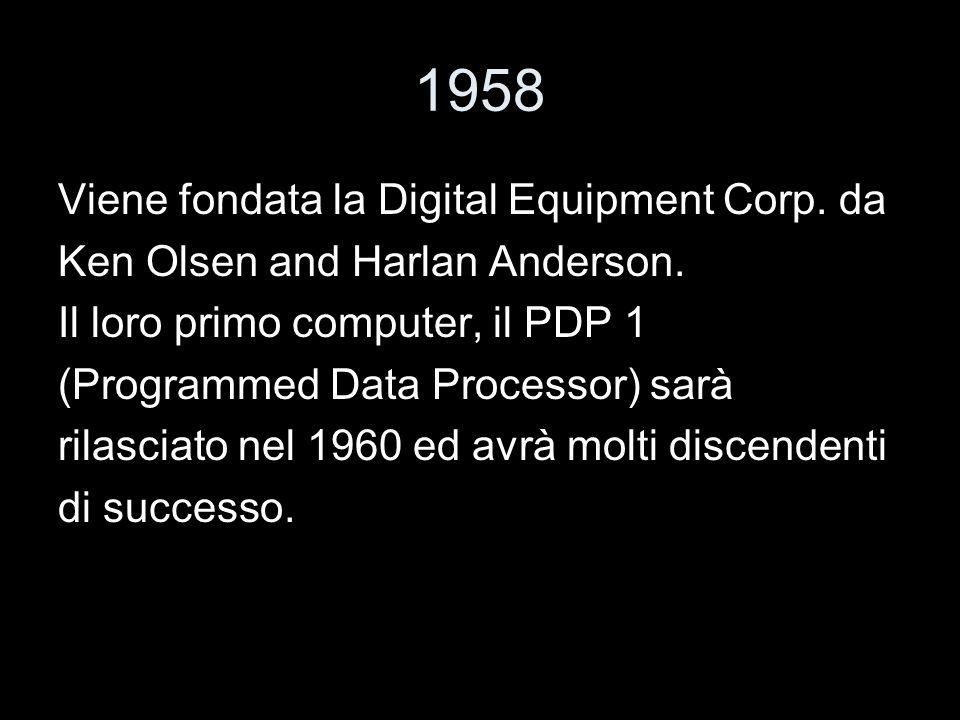 1958 Viene fondata la Digital Equipment Corp. da