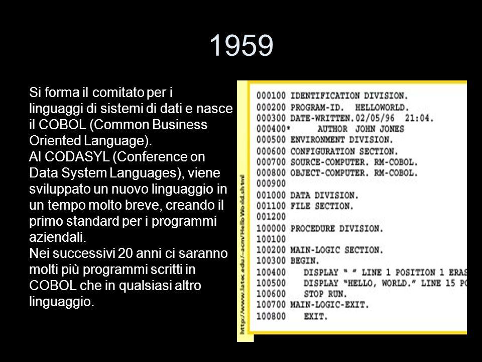 1959 Si forma il comitato per i linguaggi di sistemi di dati e nasce