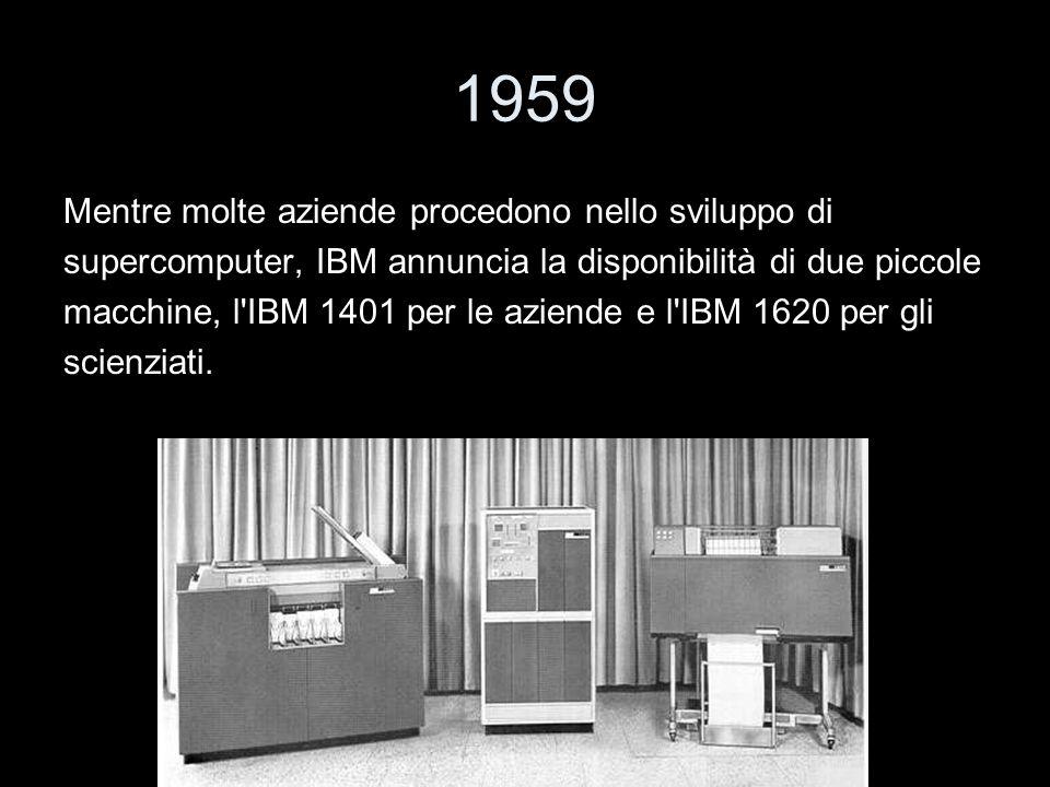 1959 Mentre molte aziende procedono nello sviluppo di