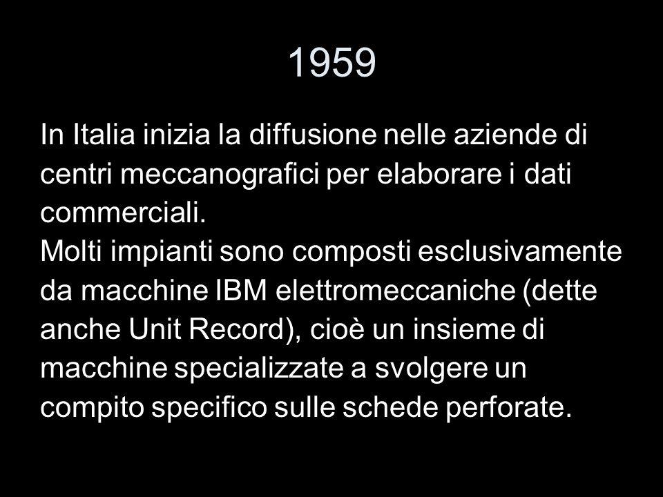 1959 In Italia inizia la diffusione nelle aziende di