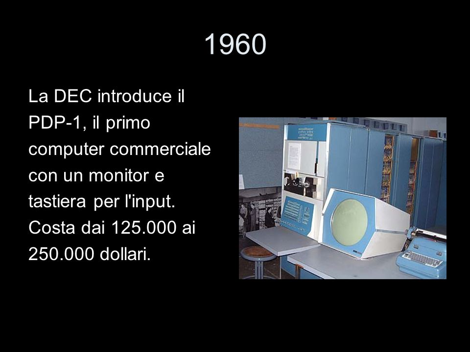 1960 La DEC introduce il PDP-1, il primo computer commerciale