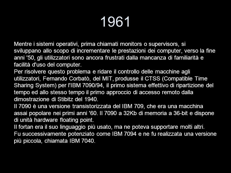 1961 Mentre i sistemi operativi, prima chiamati monitors o supervisors, si.