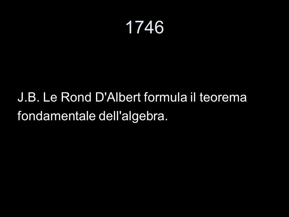 1746 J.B. Le Rond D Albert formula il teorema