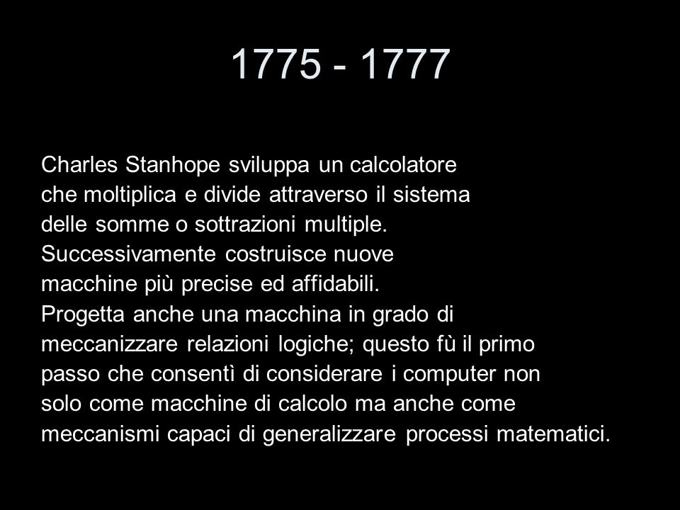 1775 - 1777 Charles Stanhope sviluppa un calcolatore