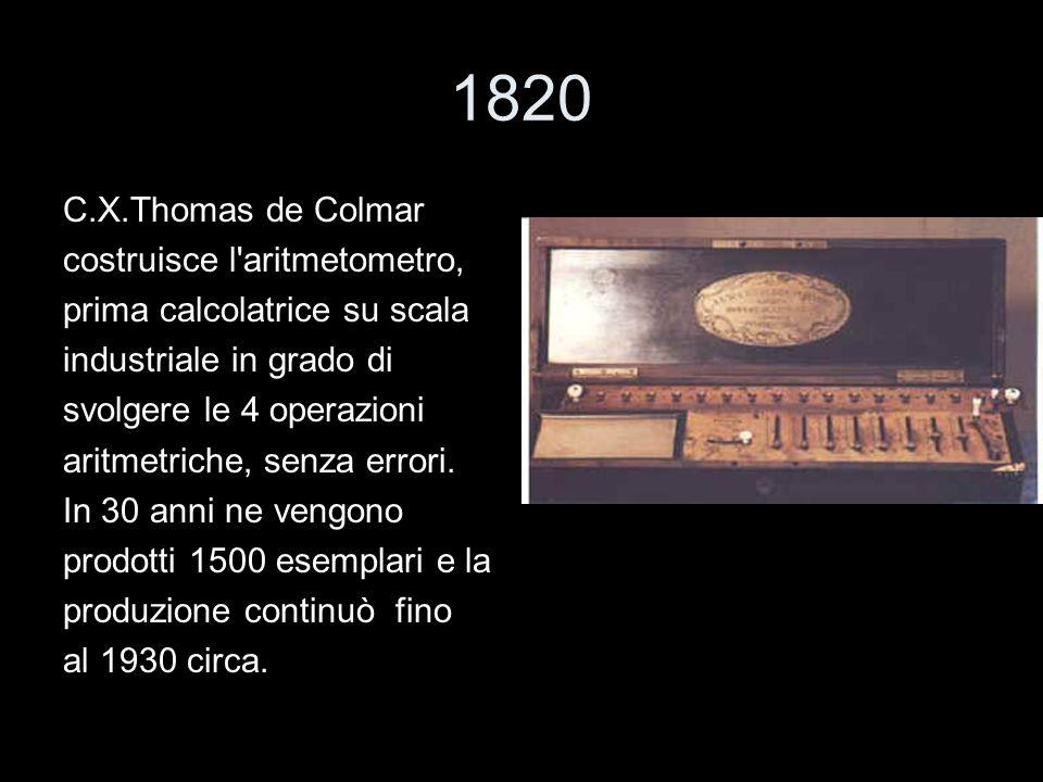 1820 C.X.Thomas de Colmar costruisce l aritmetometro,