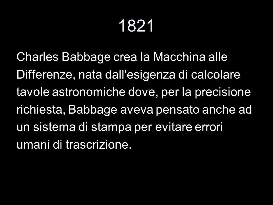 1821 Charles Babbage crea la Macchina alle