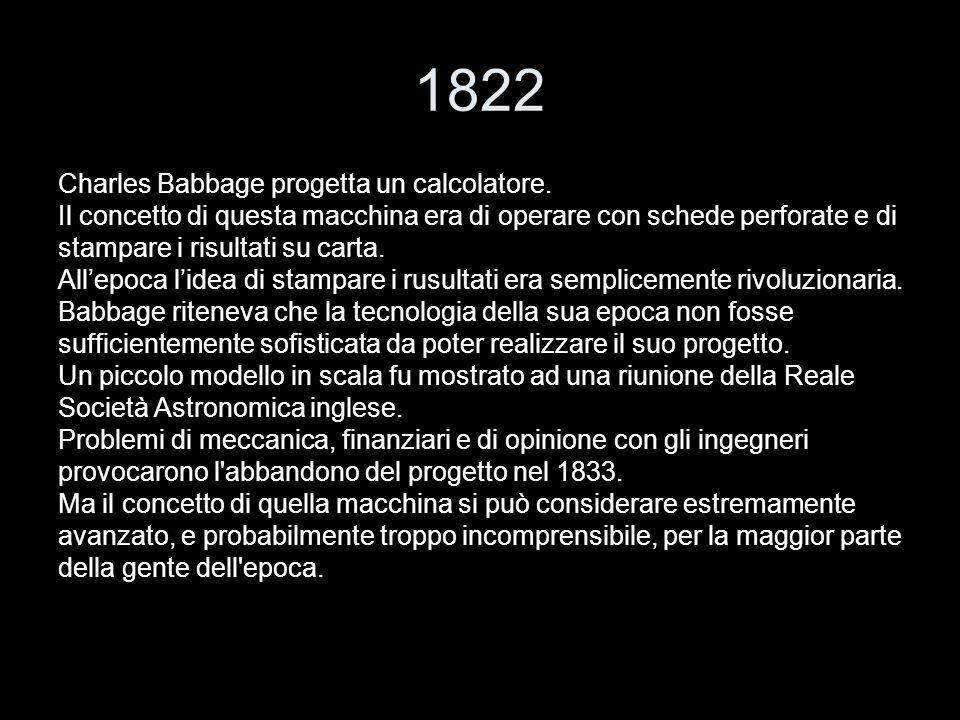 1822 Charles Babbage progetta un calcolatore.