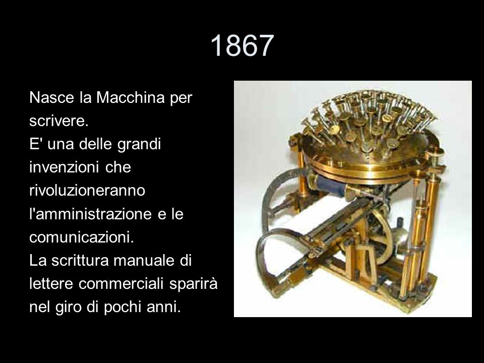 1867 Nasce la Macchina per scrivere. E una delle grandi