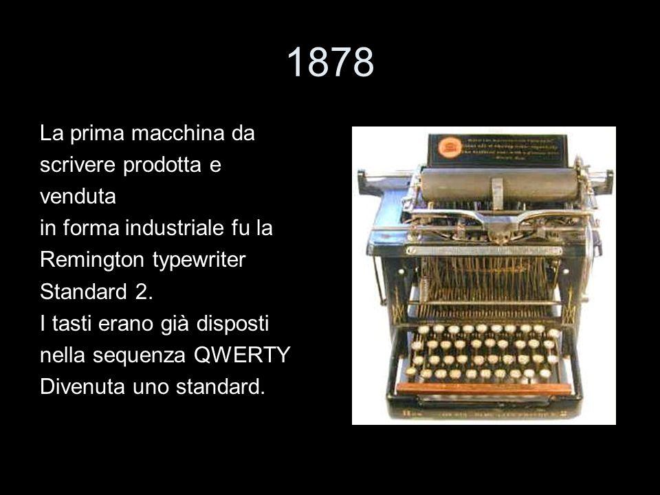 1878 La prima macchina da scrivere prodotta e venduta