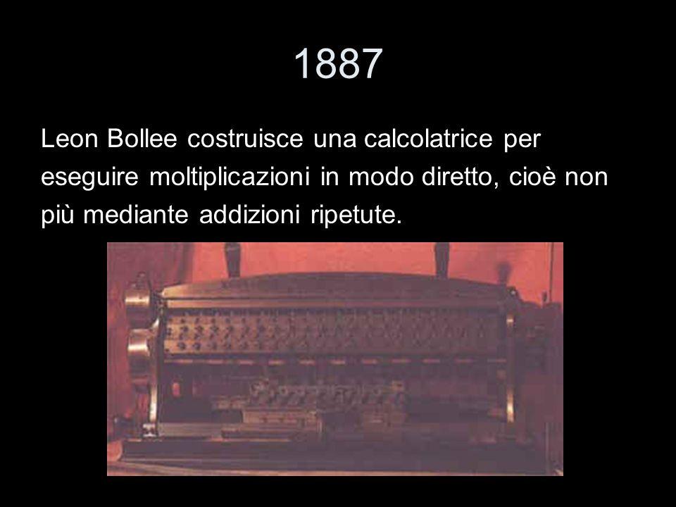 1887 Leon Bollee costruisce una calcolatrice per