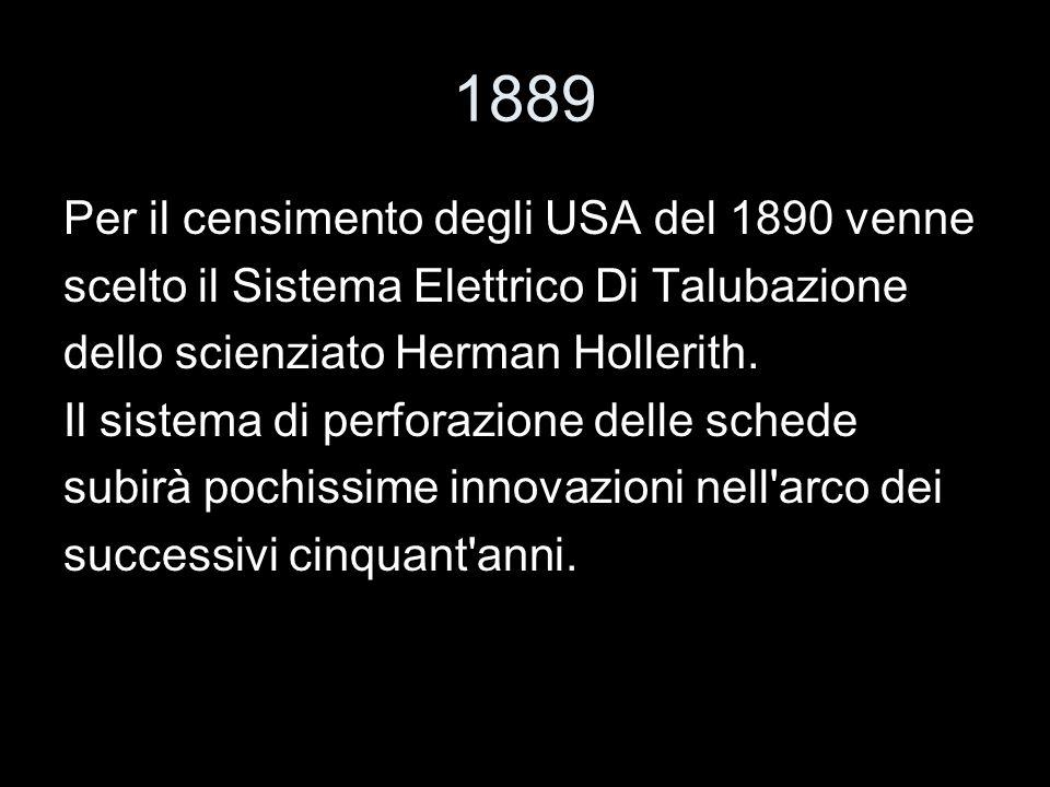1889 Per il censimento degli USA del 1890 venne