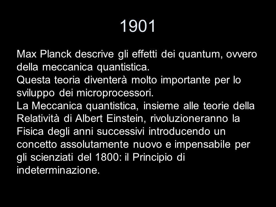 1901 Max Planck descrive gli effetti dei quantum, ovvero