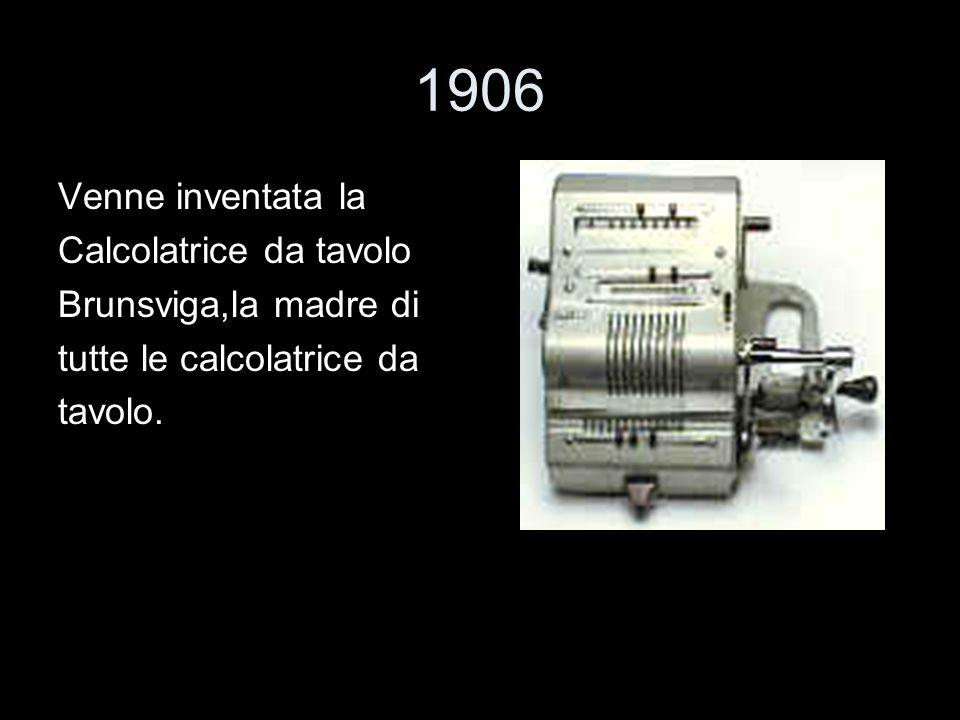 1906 Venne inventata la Calcolatrice da tavolo Brunsviga,la madre di