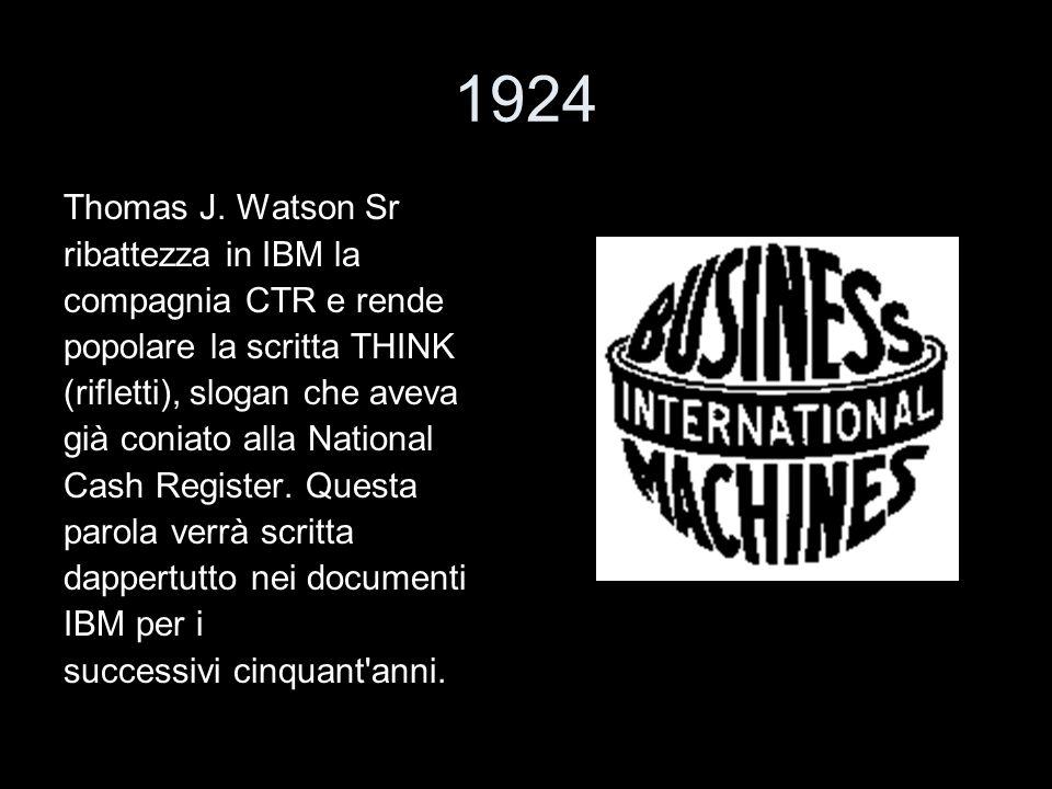 1924 Thomas J. Watson Sr ribattezza in IBM la compagnia CTR e rende