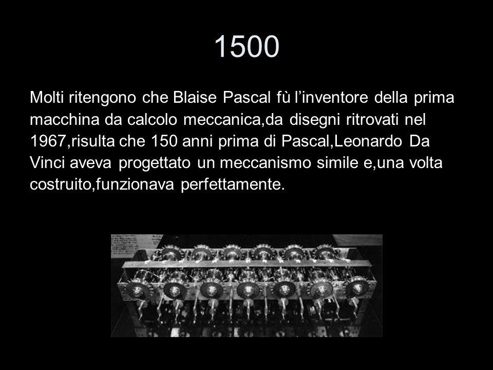 1500 Molti ritengono che Blaise Pascal fù l'inventore della prima