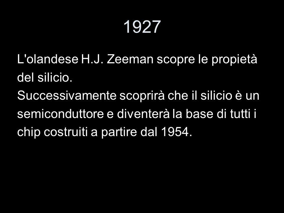 1927 L olandese H.J. Zeeman scopre le propietà del silicio.