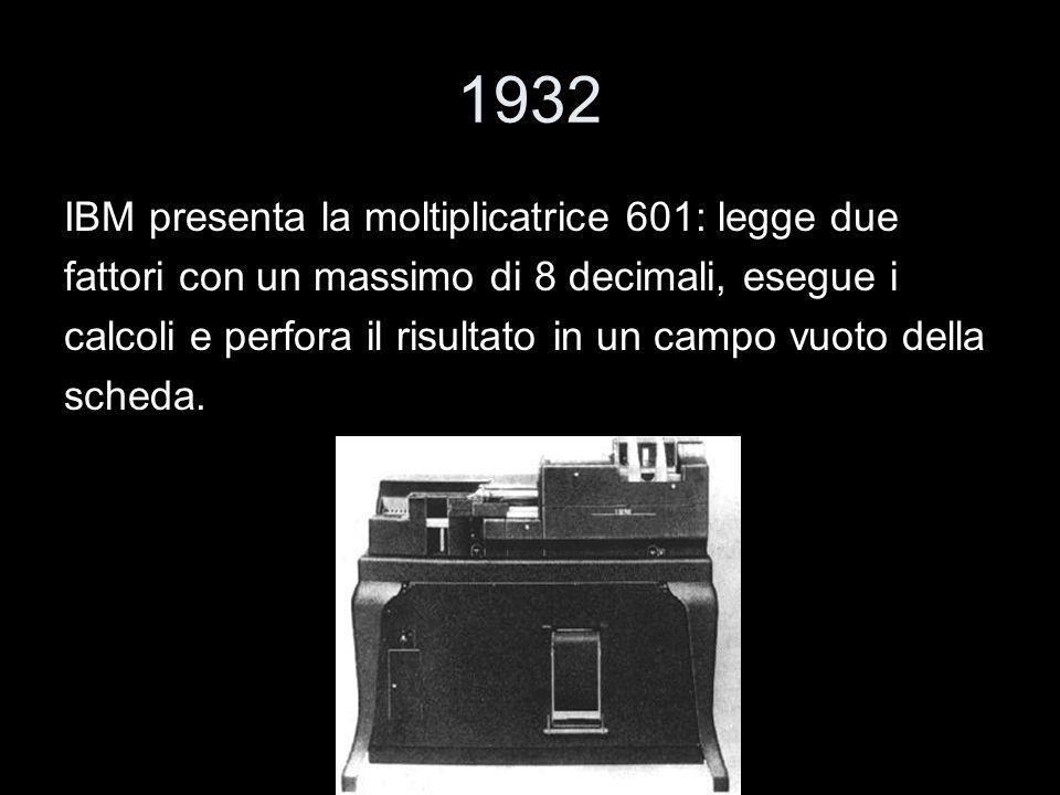 1932 IBM presenta la moltiplicatrice 601: legge due