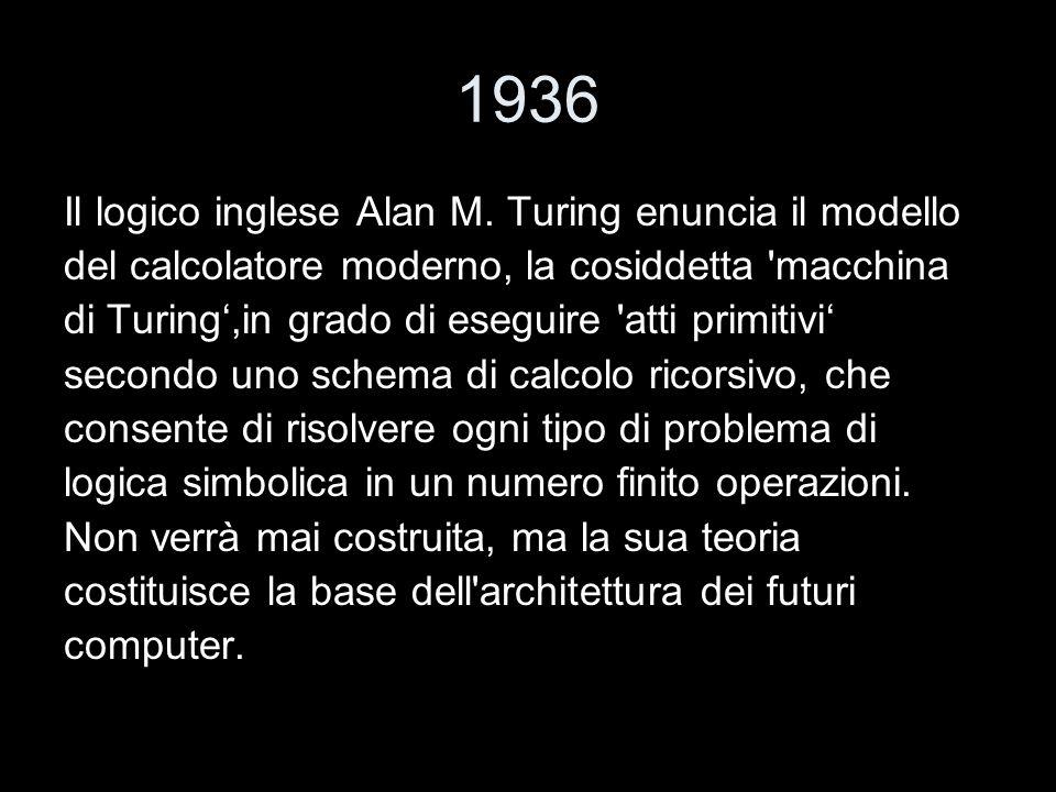 1936 Il logico inglese Alan M. Turing enuncia il modello