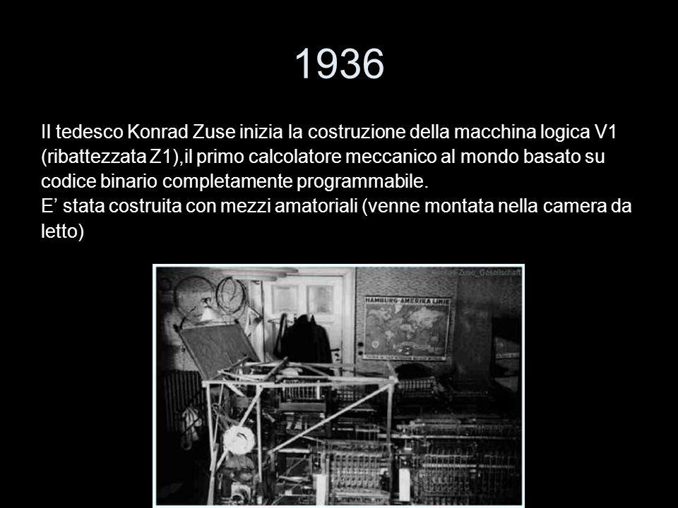 1936 Il tedesco Konrad Zuse inizia la costruzione della macchina logica V1. (ribattezzata Z1),il primo calcolatore meccanico al mondo basato su.