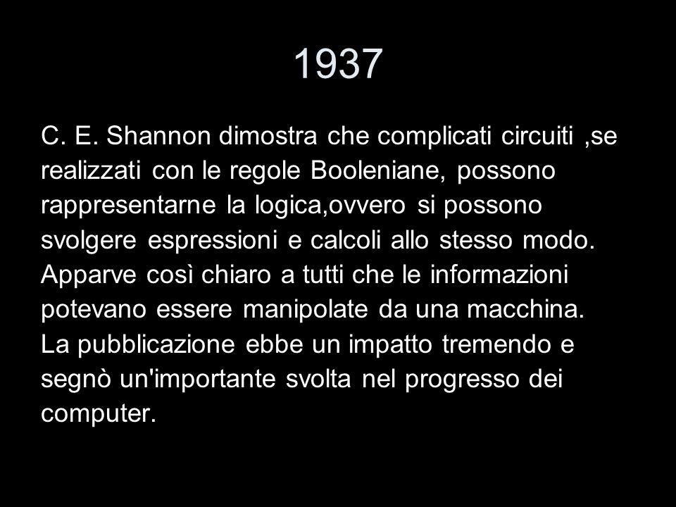 1937 C. E. Shannon dimostra che complicati circuiti ,se