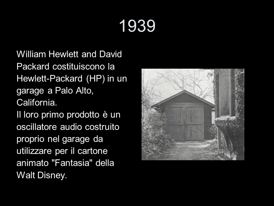 1939 William Hewlett and David Packard costituiscono la
