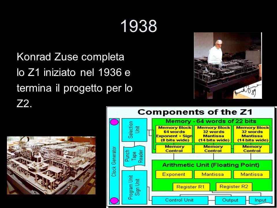 1938 Konrad Zuse completa lo Z1 iniziato nel 1936 e