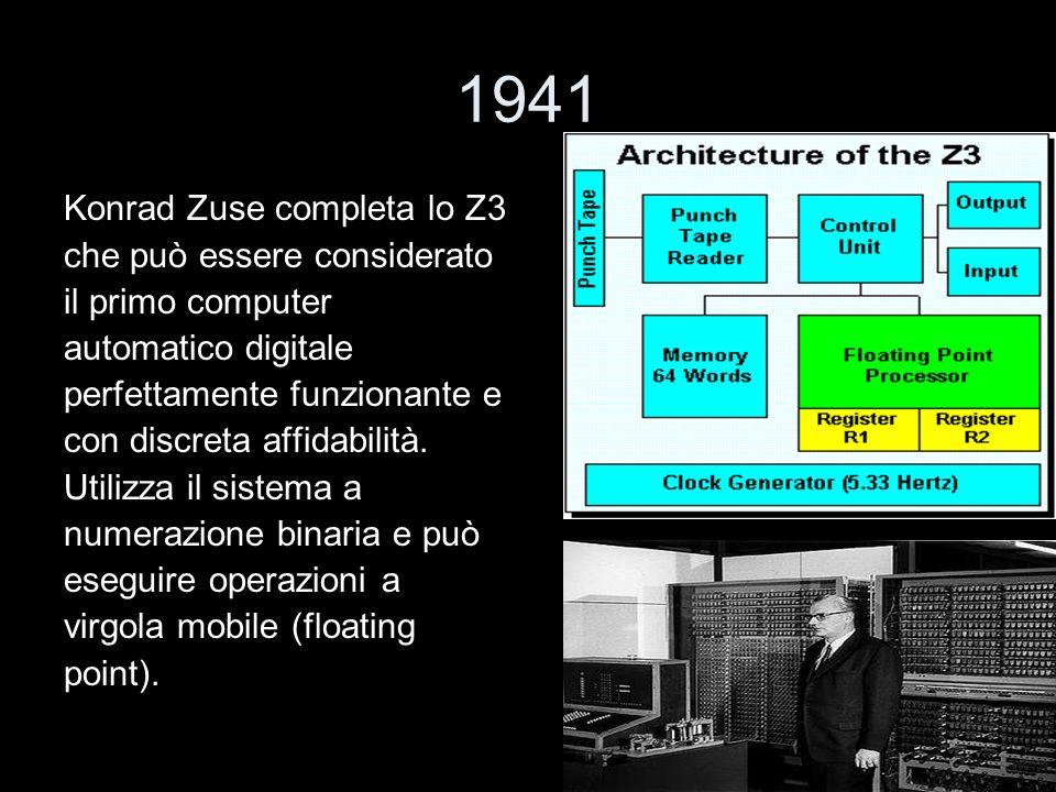 1941 Konrad Zuse completa lo Z3 che può essere considerato