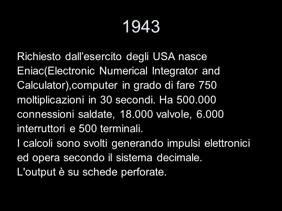 1943 Richiesto dall'esercito degli USA nasce
