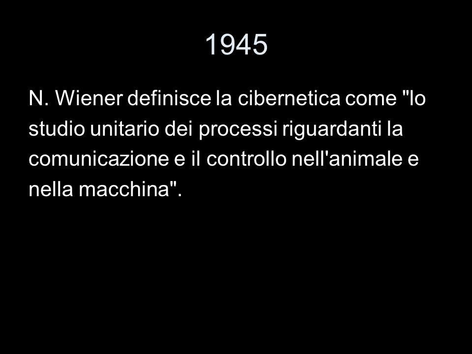 1945 N. Wiener definisce la cibernetica come lo