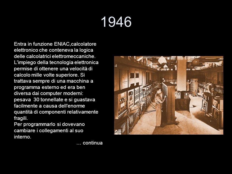 1946 Entra in funzione ENIAC,calcolatore