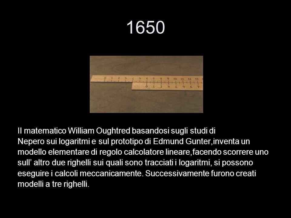 1650 Il matematico William Oughtred basandosi sugli studi di