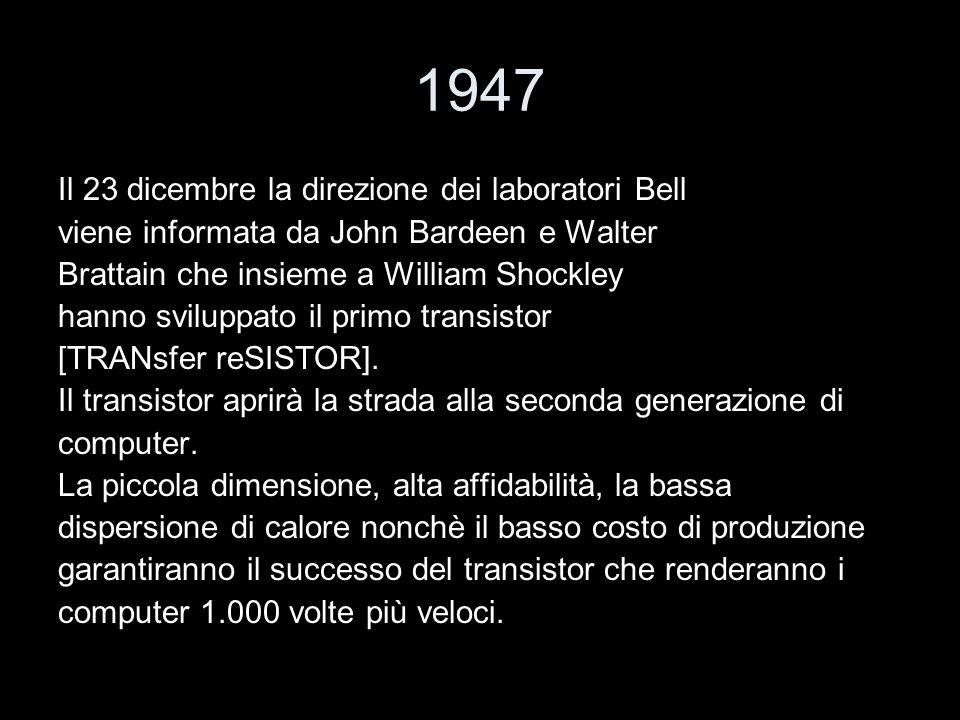 1947 Il 23 dicembre la direzione dei laboratori Bell