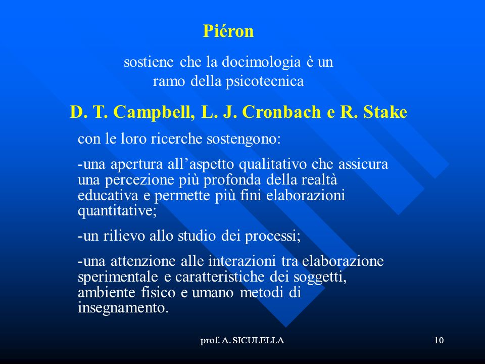 D. T. Campbell, L. J. Cronbach e R. Stake