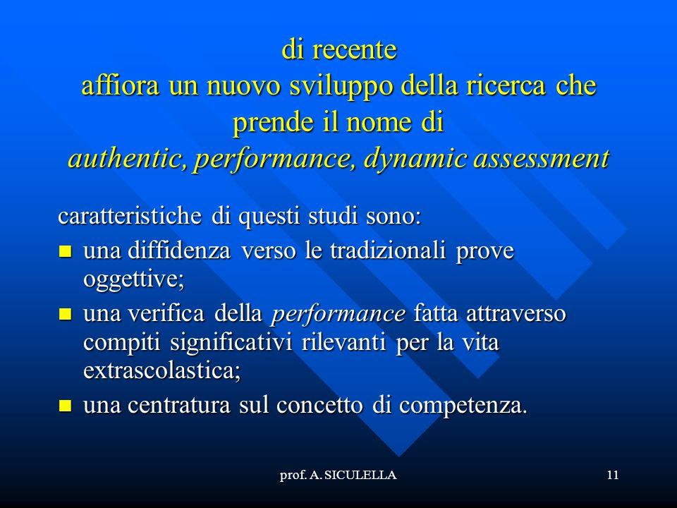di recente affiora un nuovo sviluppo della ricerca che prende il nome di authentic, performance, dynamic assessment