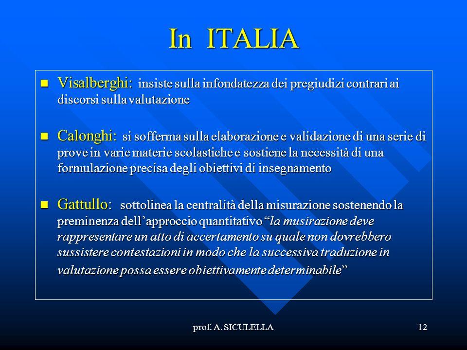 In ITALIA Visalberghi: insiste sulla infondatezza dei pregiudizi contrari ai discorsi sulla valutazione.