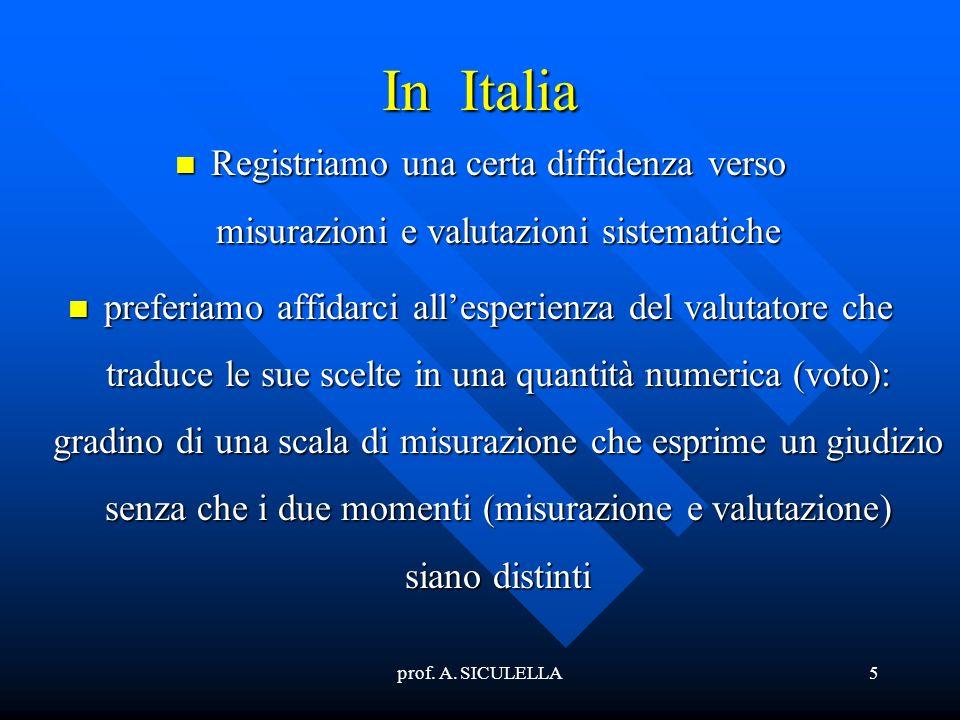 In Italia Registriamo una certa diffidenza verso misurazioni e valutazioni sistematiche.