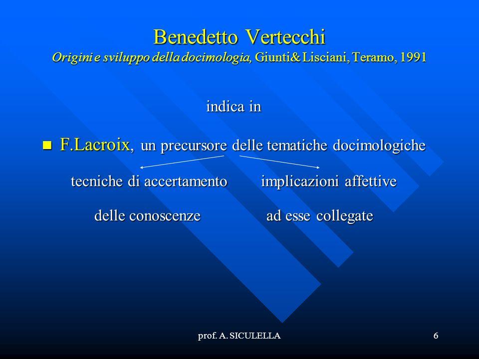 Benedetto Vertecchi Origini e sviluppo della docimologia, Giunti& Lisciani, Teramo, 1991