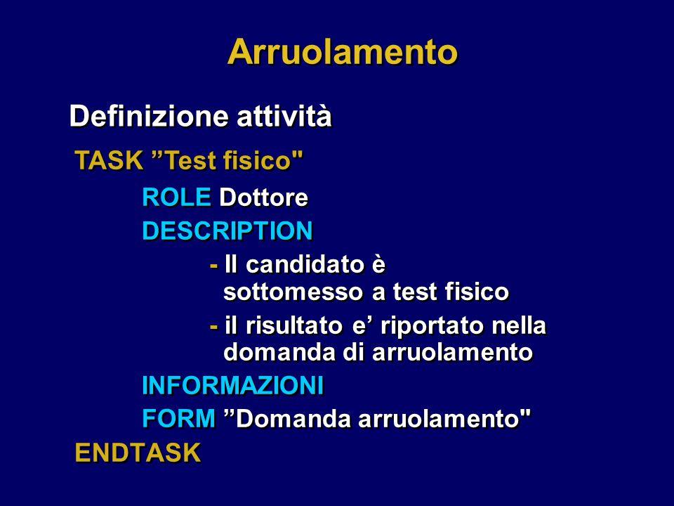 Arruolamento Definizione attività TASK Test fisico ROLE Dottore
