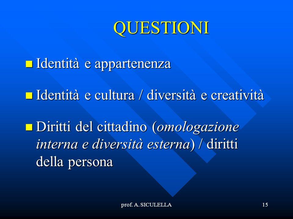 QUESTIONI Identità e appartenenza