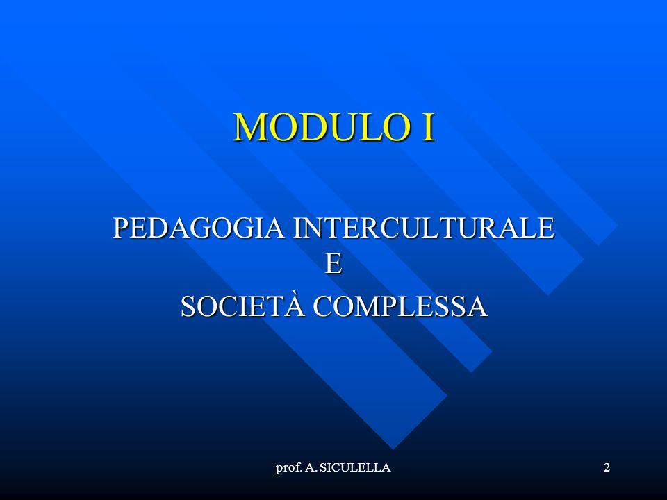 PEDAGOGIA INTERCULTURALE E SOCIETÀ COMPLESSA